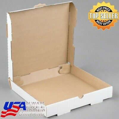 "White Corrugated Plain Pizza Bakery Box Hotel Resto (50-Pack) 12"" x 12"" x 1 3/4"""