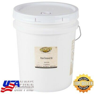 Golden Barrel Pure Coconut Oil 5 Gallon Pail Commercial 38 Lb Bucket Bulk Fry