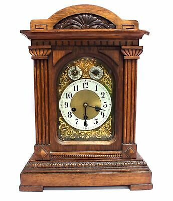 Antique Mantle Windup Clock Gold Face Brown Wood Chime Hidden Pendulum Key - C09