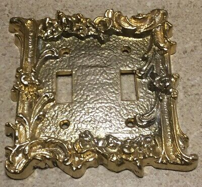 #C200 ~ Vintage Ornate Brass Double Light Switch Plate Antique Goldtone