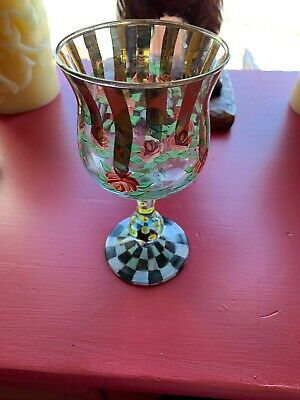 Mackenzie childs Circus Wiine Goblets Glass Retired Vintage Glasses Wine Glasses