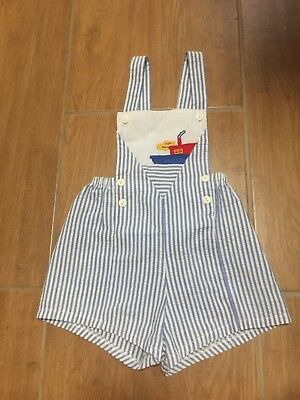 Blue & White Stripe Seersucker Overalls Romper Nautical Boat Embroidered Sz 2