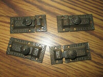 Antique Set 4 Victorian Cast Iron Cupboard Cabinet Latches w Keepers