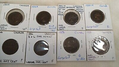 1859 - 1888 (H) Canada circulated Large Cent coin 10 X Coin(s)