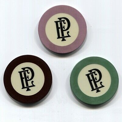 3 Pc Set Old Antique Playa Ensenada Crest & Seal Casino Chips