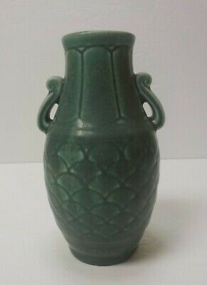 "ROOKWOOD Art Pottery 6"" Matte Teal Basket Weave Handled Vase #6096, c. 1929"