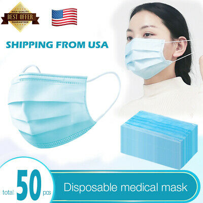 50 Pcs Disposable Surgical Mask Medical Dental Earloop Protectection Flu Virus