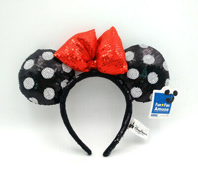 Disney Parks Minnie Mouse Ears Mickey Red Bow Black Sequins Spots Headband