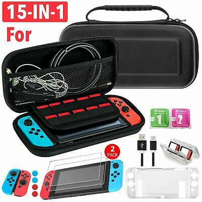 Nintendo Switch NS Travel Bag Set Hard Bag Screen Protector Case Cover 15 in 1