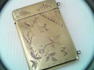 Victorian 1800S Dominick & Haff Sterling Aesthetic Card Case Birds & Flowers