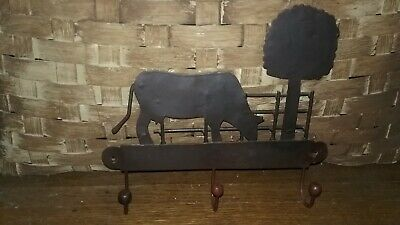 "Old Black Metal Vintage Style Farmhouse Cow and Tree 3 Hook Wall Hanger 10"" Wide"