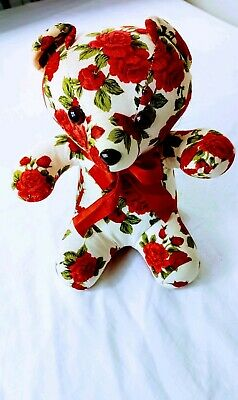 Milaca Mills Vintage Floral  With Red Roses & Ribbon Teddy Bear  excellent condi