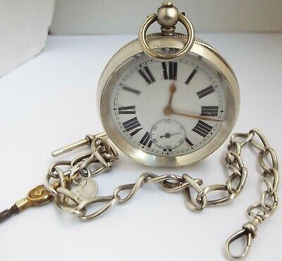 HANDSOME LARGE WORKING ANTIQUE c1900 SOLID SILVER POCKET WATCH WITH ALBERT CHAIN