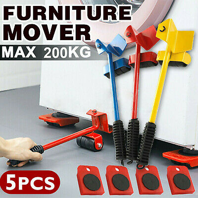 Heavy Furniture Shifter Lifter + 4 Remover Roller Wheels Moving Tools Set New EO