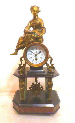French Style Vintage Brass Portico Statue Clock