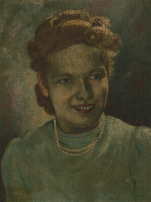 C.H. - Early 20th Century Oil, Portrait of a Lady in a Pearl Necklace
