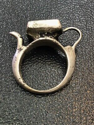 Solid Silver Old Roman  king Seal intaglio Face Ring