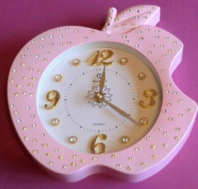 Large Pink Haishi Wall Clock, Romany Bling Apple Shaped - Good Condition