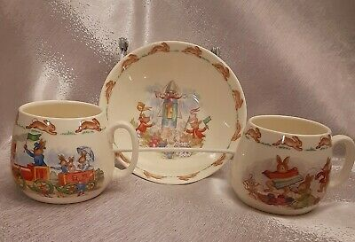 Royal Doulton Bunnykins Child's Set One Bowl and Two Cups