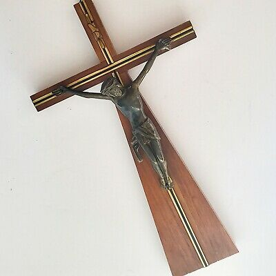 ART DECO FRENCH CRUCIFIX Wood & Cast Metal Wall Cross. Lovely Antique Antique