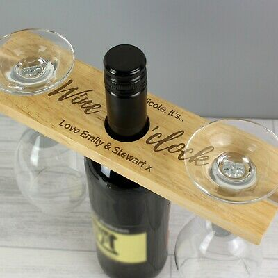 Personalised Wine O'Clock Wooden Wine Glass & Bottle Butler Holder Housewarming