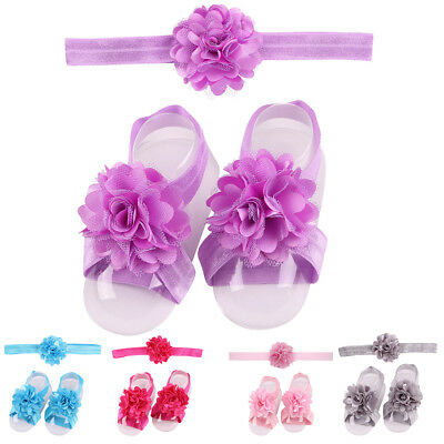 EE_ QA_ NE_ Lovely Baby Girls Lace Flower Hairband Floral Shoes Band Headband He