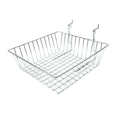 Slatwall Gridwall Heavy Duty Square Wire Mesh Chrome Basket Retail Shop (OX2)