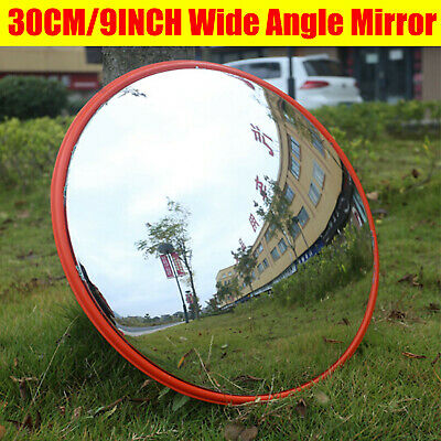 Outdoor Curved Wide Angle Convex Mirror Road Traffic Driveway Safety 30cm/9inch