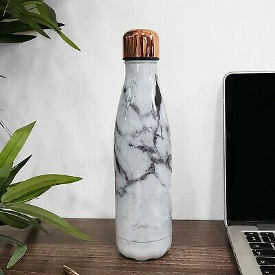 Marble & Rose Gold Metal Water Bottle|Stainless Steel|Insulated|White or Black