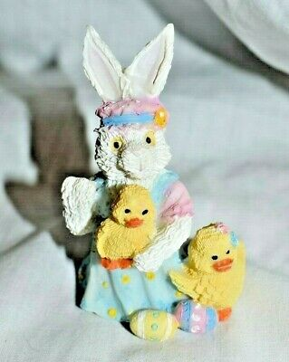 "Estate - Easter Decor,  Bunny  and Chicks With Easter Eggs Adorable 3"" Resin"