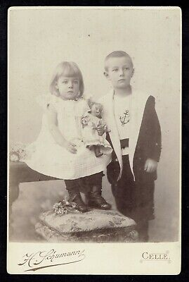 Cabinet Photo Children with Doll Toy, phot. H. Schumann, Celle, Germany (5337)