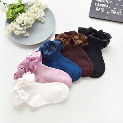 Wo_ Am_ Baby Girl Winter Solid Color Cotton Bowknot Ruffled Ankle Princess Socks