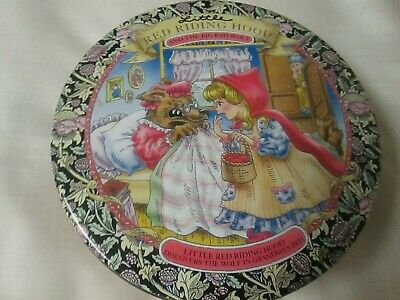 """Empty LITTLE RED RIDING HOOD and the BIG BAD WOLF TIN- 7"""" diameter- great design"""