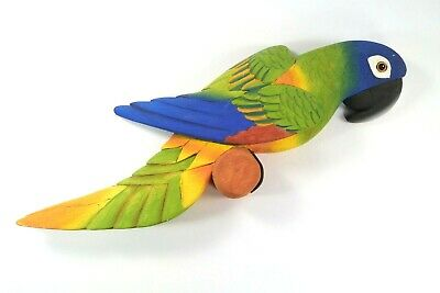 """17"""" Hand Painted Carved Wood Parrot-Wall Hanging Made In Ecuador Great Bar Decor"""