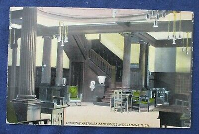 1911 Mount Clemens Michigan Arethusa Bathhouse Postcard Flag Cancel Perfin Stamp