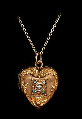 Gorgeous ORNATE Antique VICTORIAN High Relief JEWELED HEART LOCKET Necklace