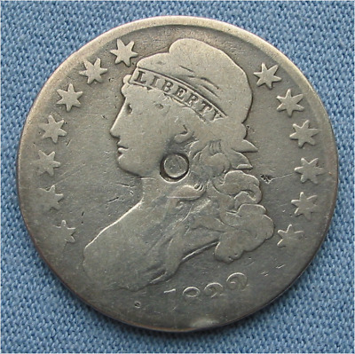 1832 Capped Bust Half Dollar (50C circulated, cleaned)