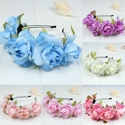 AM_ Glitter Petals Cloth Flower Hair Hoop Garland Headband Bridal Wedding Decor