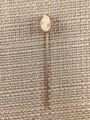 Antique Victorian Solid Yellow Gold Stick Pin with Pink Shell Carved Cameo 1.4g