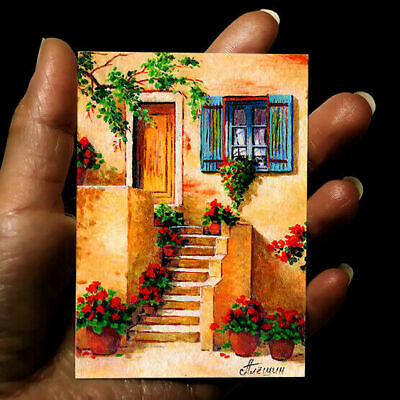 original miniature painting ACEO art picture acrylic signed drawing OLD ITALY