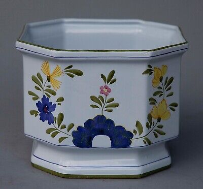 Vintage Cottura Floral Planter Italy Italian Pottery Blue Green Yellow