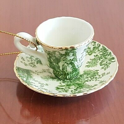 Small Green French Toile Teacup and Saucer Christmas Tree Ornament