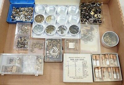 Large Lot Of Vintage Mantel & Wall Clock Hands Nuts Screws Parts Repair