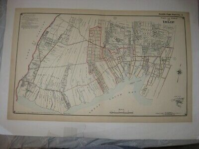 Antique 1915 West & Islip Bay Shore Brightwaters New York Handcolored Map Rare