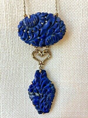 Chinese Carved Lapis  Luzuli 14K Gold Drop  Necklace Brooch Beautiful No Res!