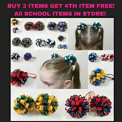 School Accessory Bow Ponytail Loopy Korker Elastic Curly Ribbon Netball Sport