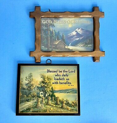 Vtg God Bless This House Our Home Psalm Religious Wall Hanging Picture Plaques