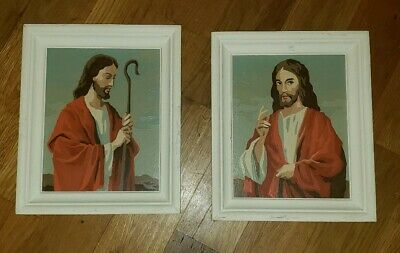 Vintage paint by number paintings set of 2 Lord Jesus Christ God Religious