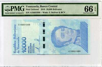 Venezuela 10000 Bolivares 2019 P New Gem Unc Pmg 66 Epq Wrong Label