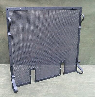 "Vintage Antique Arts & Crafts Pinned Iron Free Standing Fire place Screen 29""H"